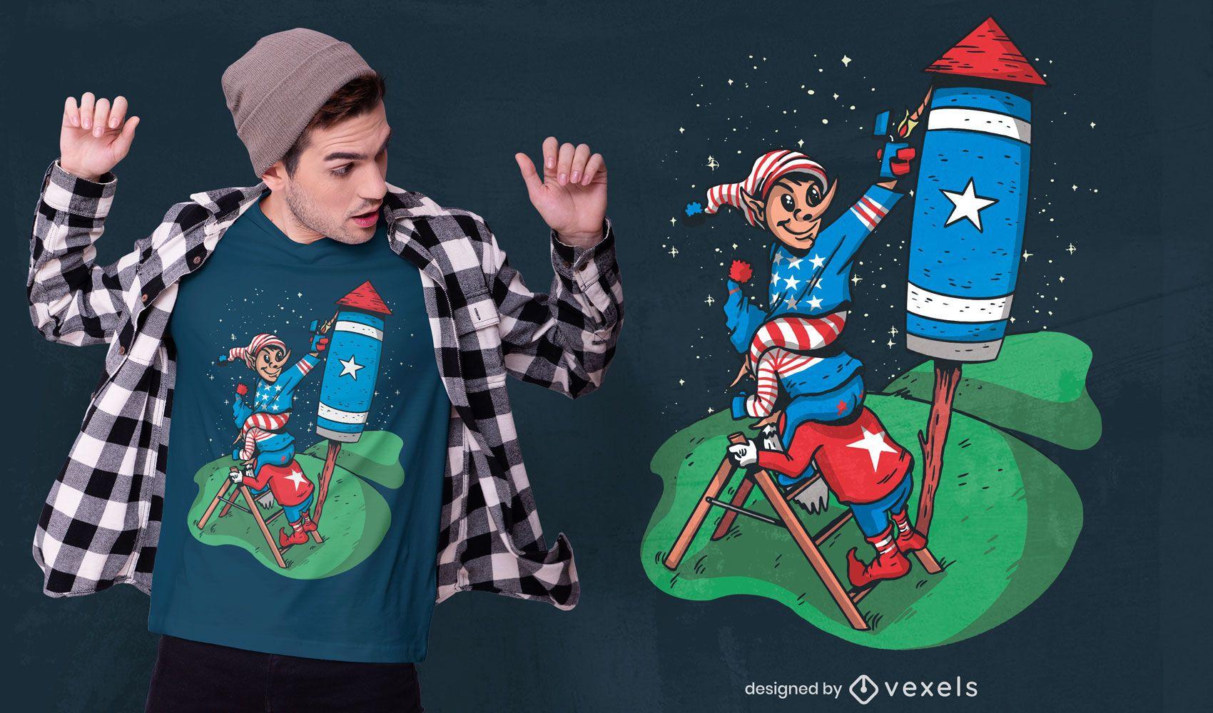 Design de t-shirt do foguete dos EUA de gnomos patrióticos