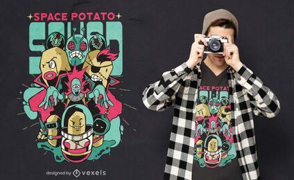 Superhero space potato squad t-shirt design