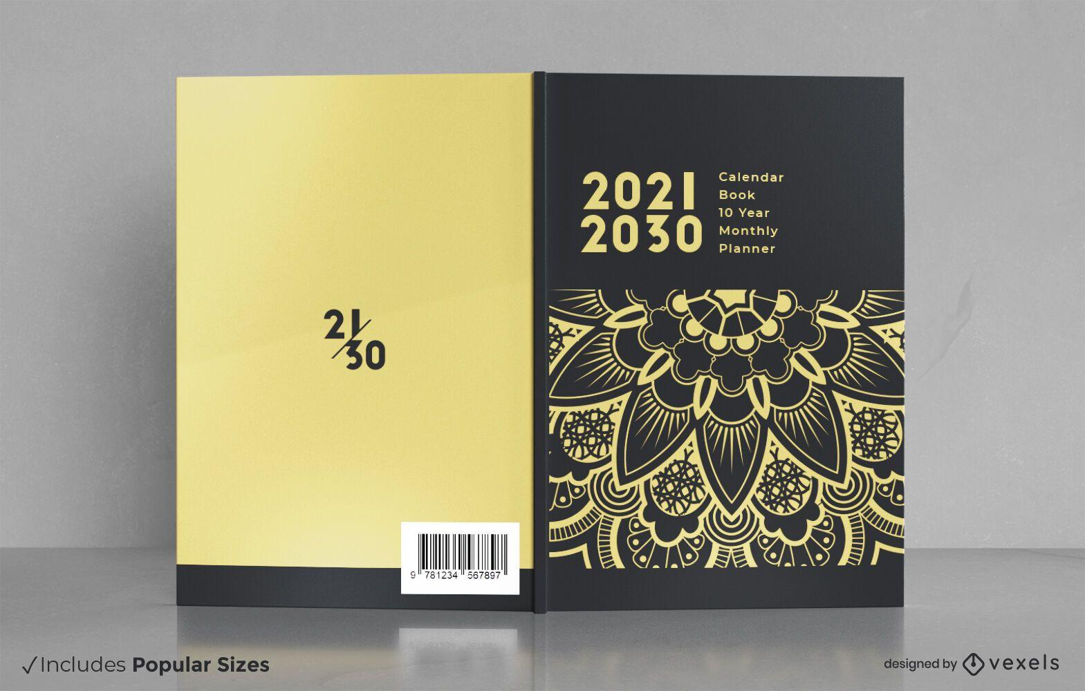 Diseño de portada de planificador mensual de 10 años.