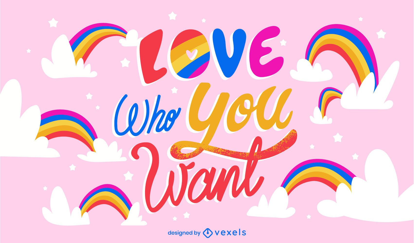 Ilustração do arco-íris das letras do mês do orgulho