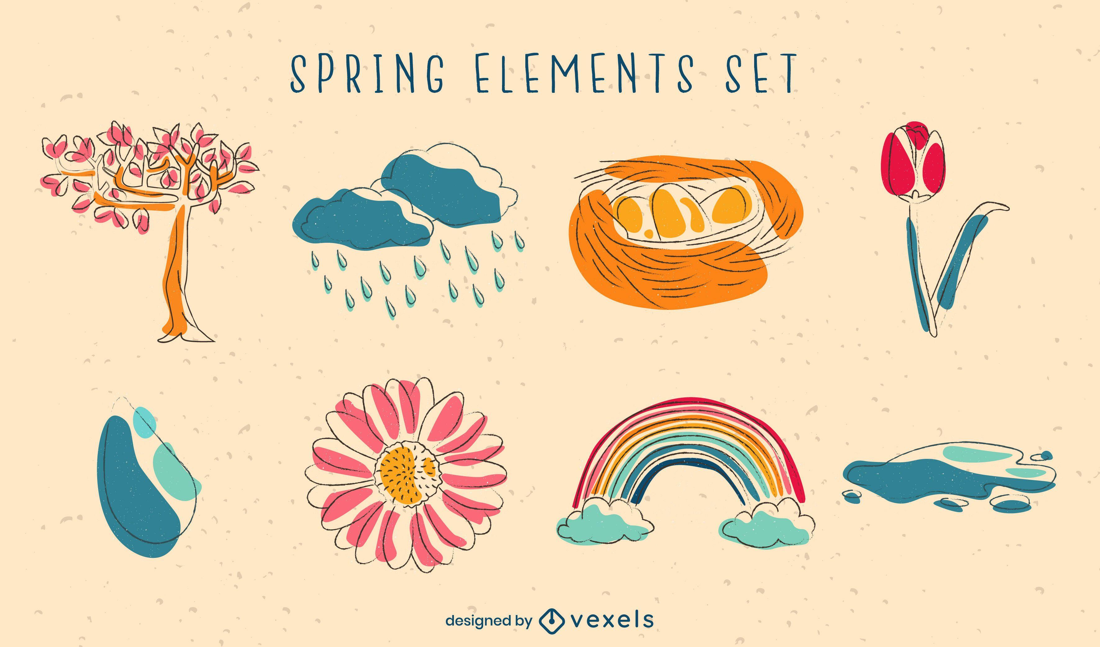 Spring doodle elements nature set