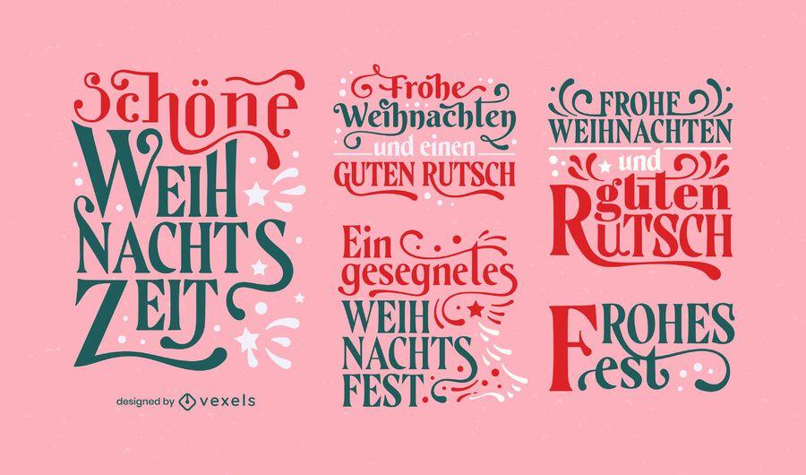 Christmas holiday german lettering set