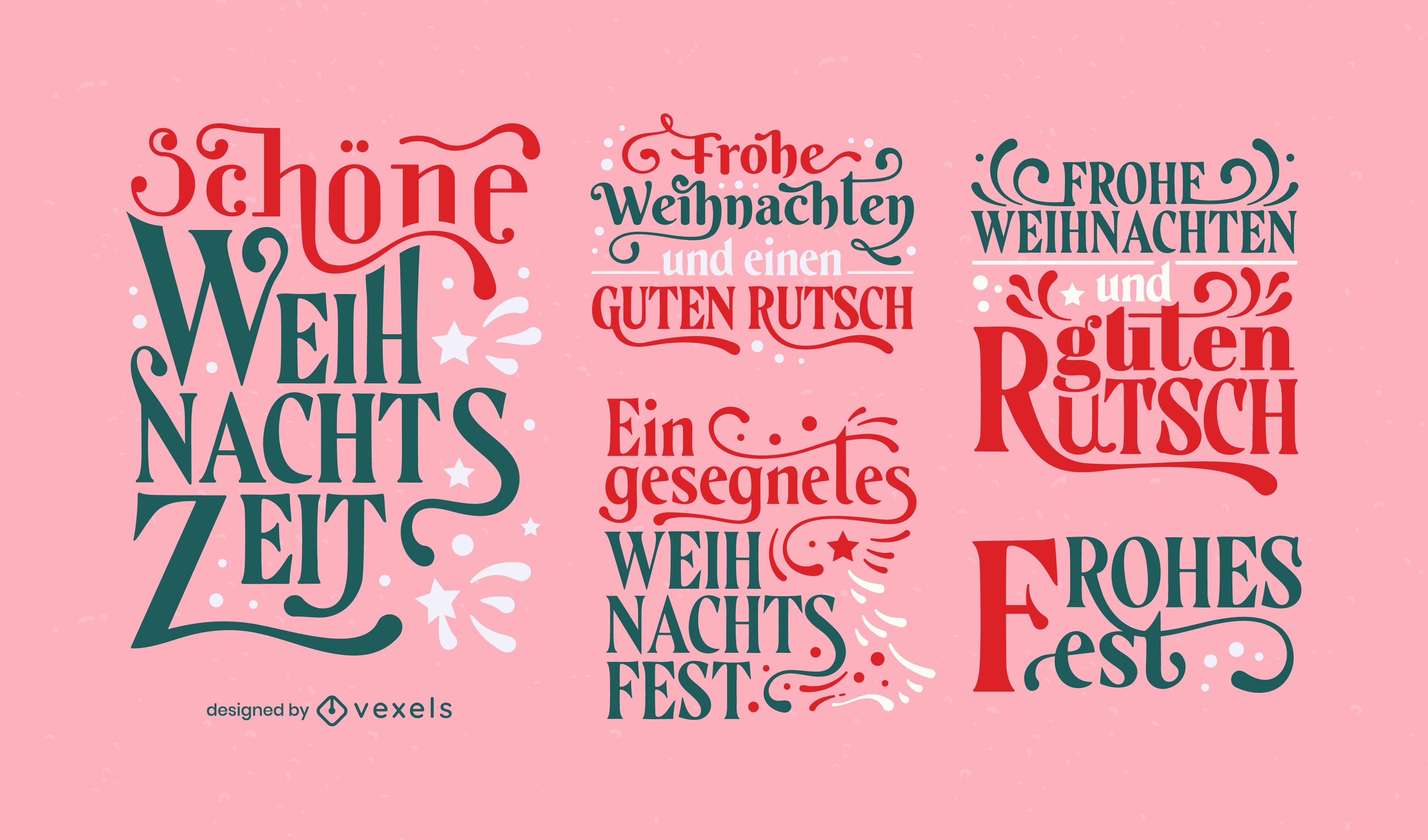 Conjunto de letras alemanas de vacaciones de navidad