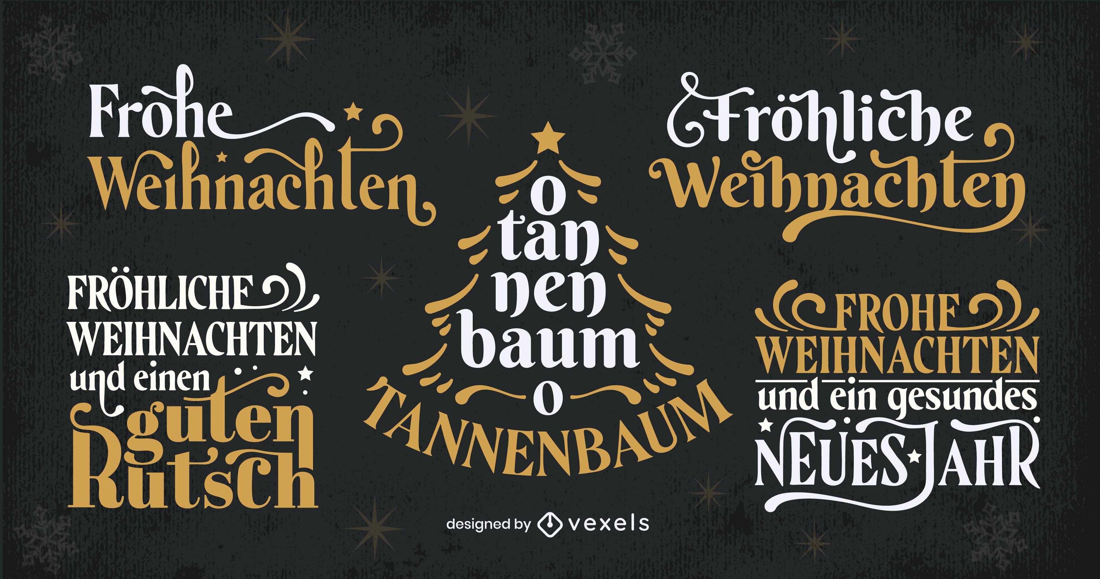 Conjunto de letras alemanas de temporada navideña