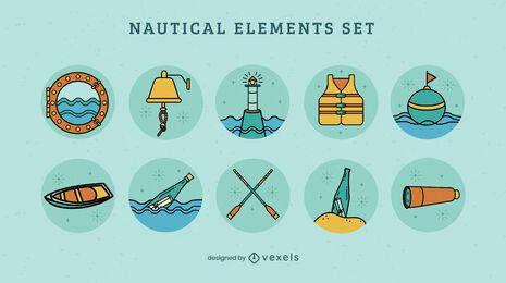 Ocean nautical ship elements set
