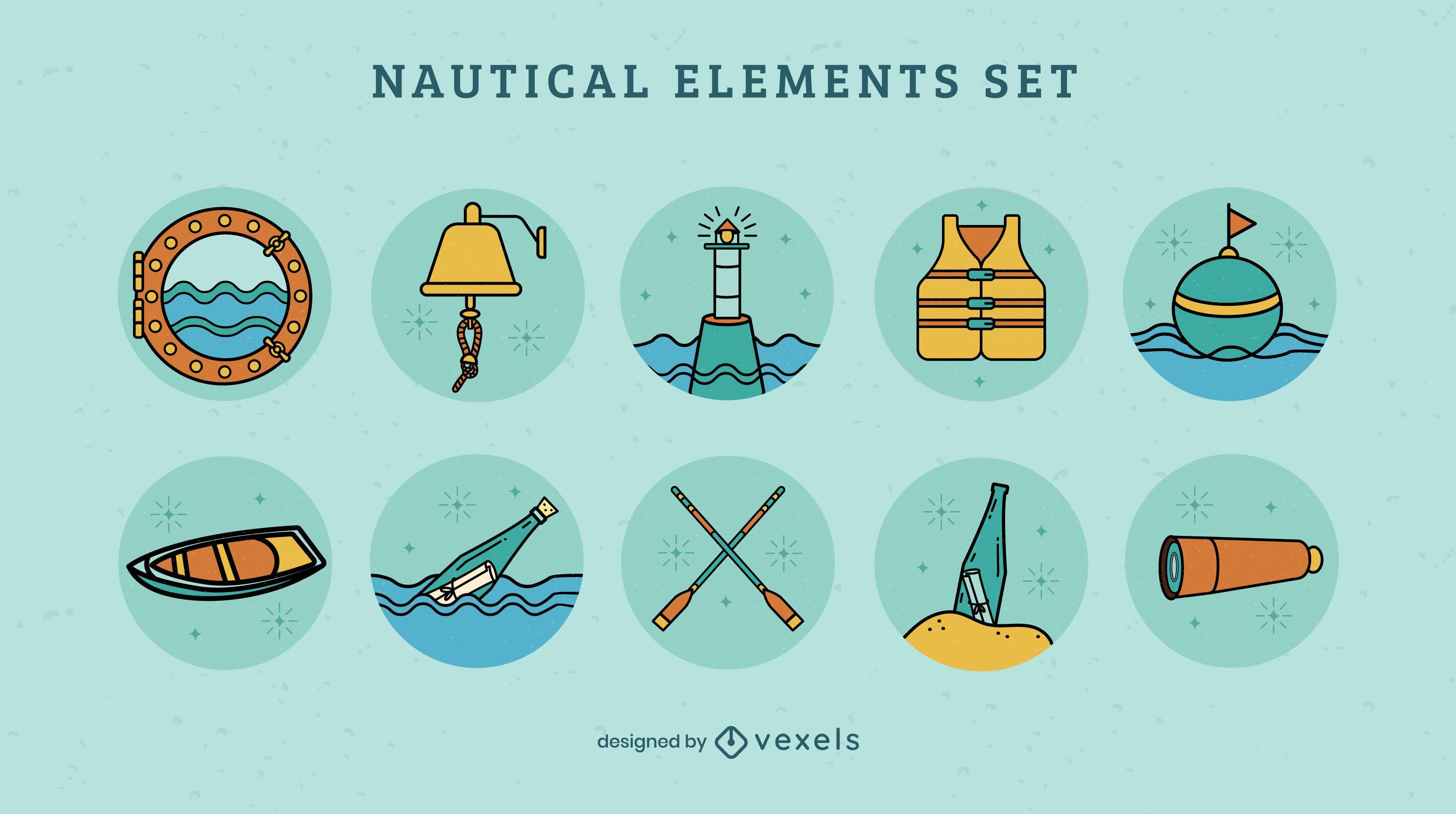 Conjunto de elementos de barco náutico oceánico
