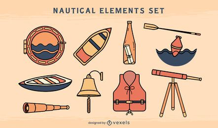 Nautical ship sailing elements set