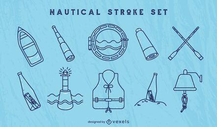 Conjunto de elementos de arte de línea de navegación de barco náutico