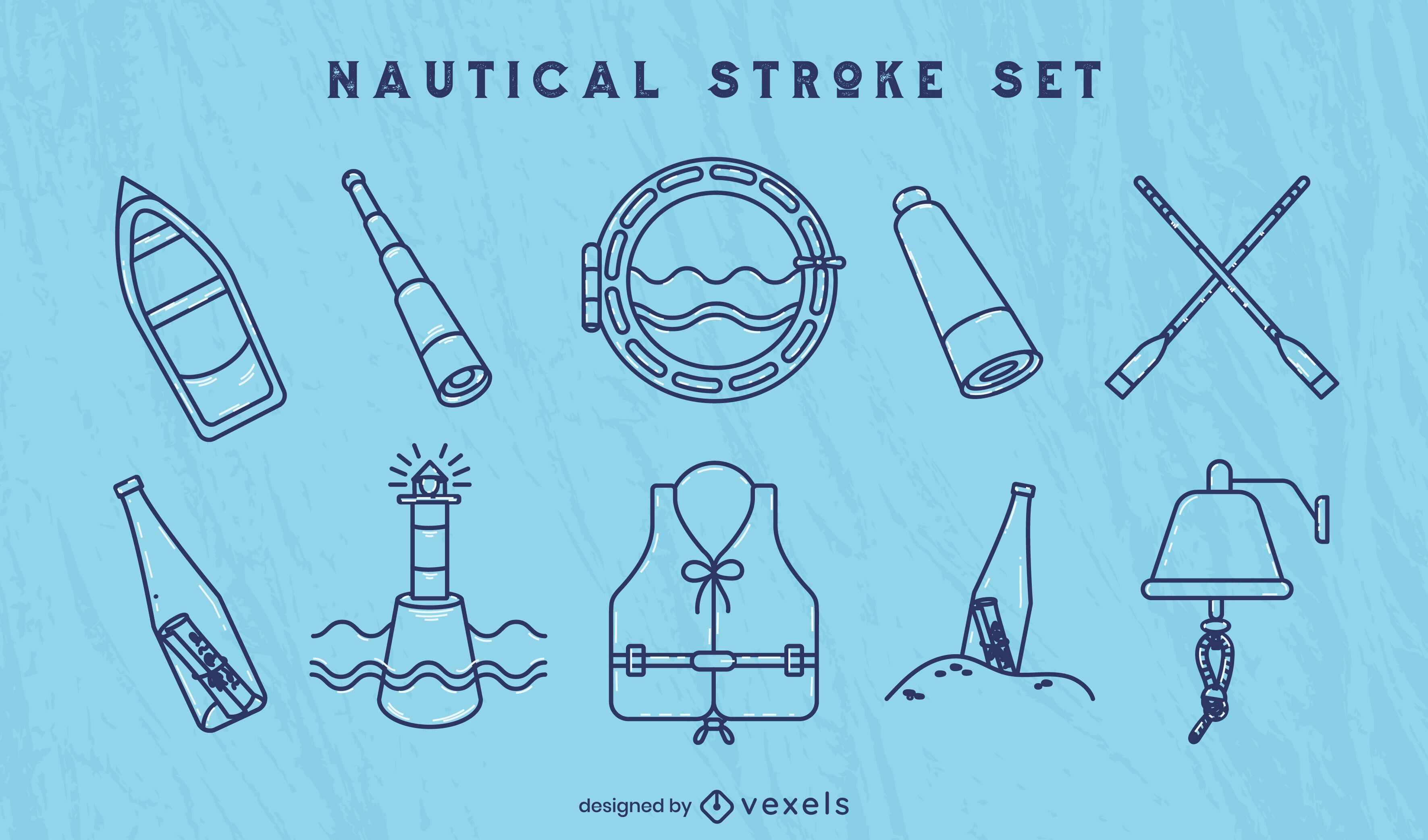 Nautical ship sailing line art elements set