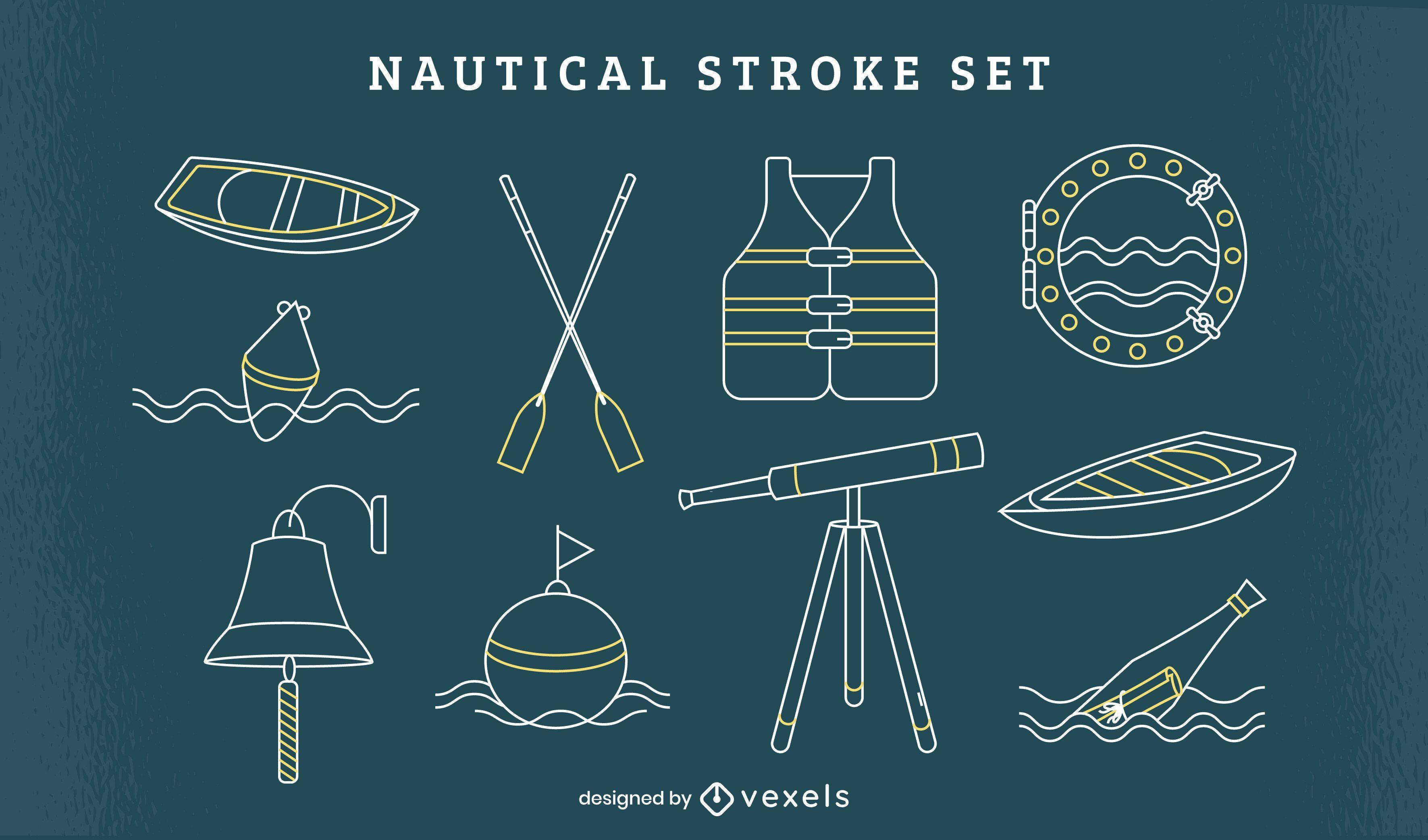 Conjunto de arte de línea de elementos de navegación náutica.