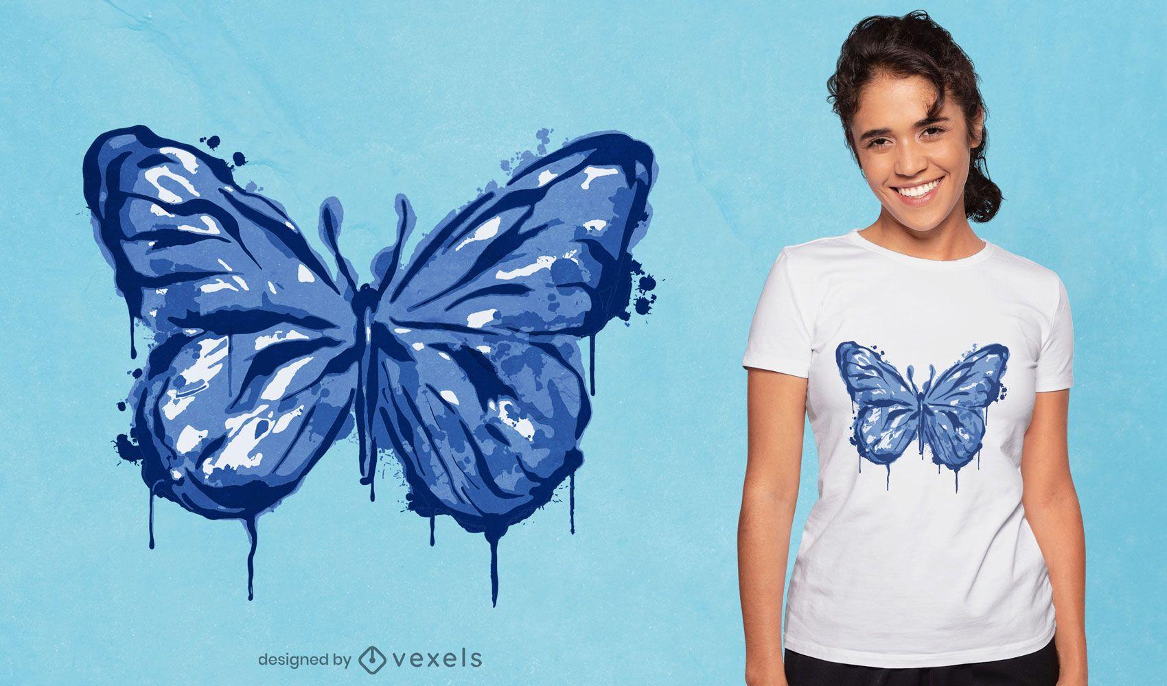Diseño de camiseta con goteo de tinta de mariposa.