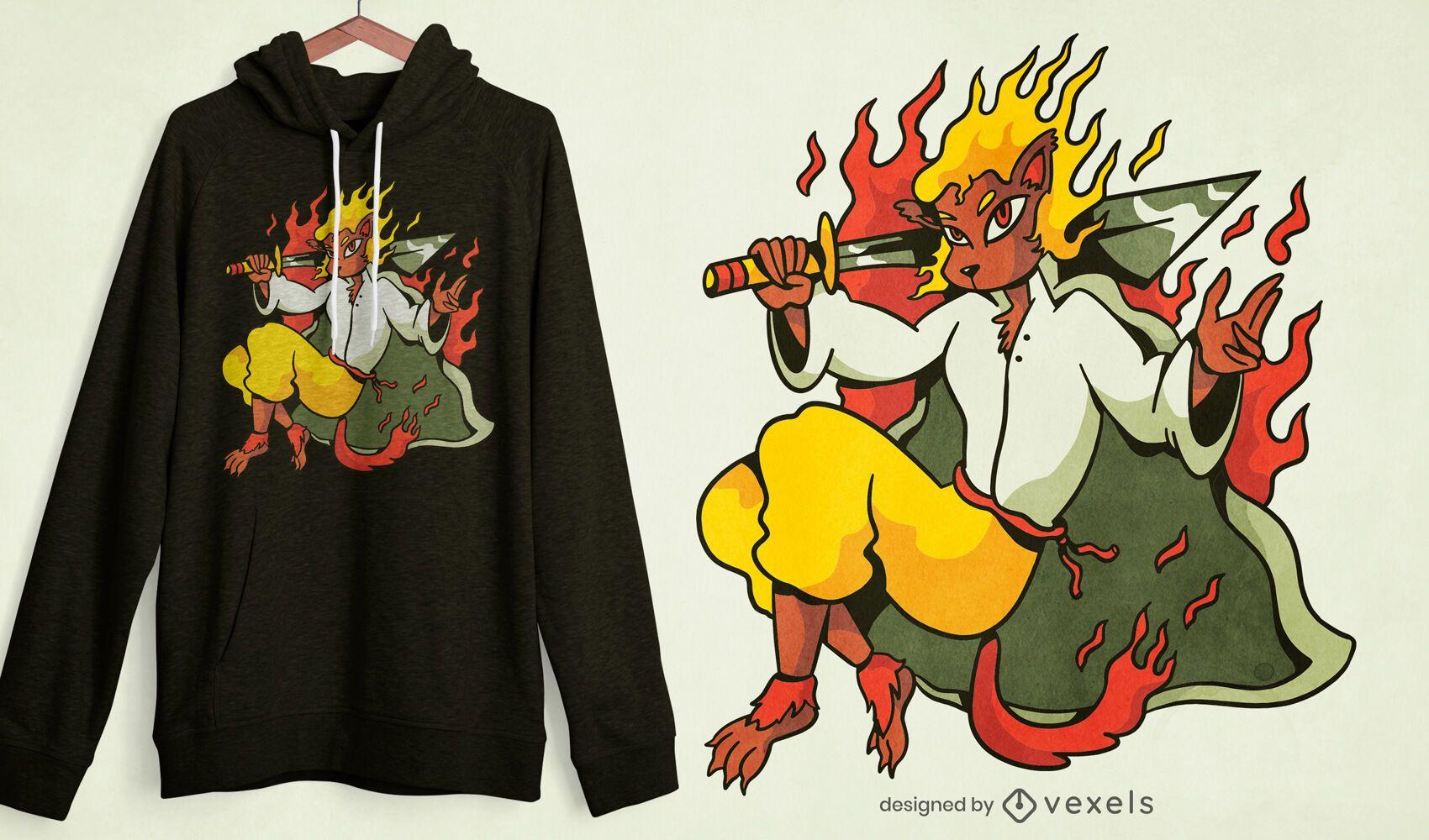 Diseño de camiseta fire leon warrior