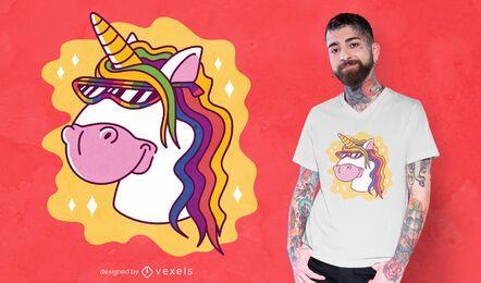 Unicornio con diseño de camiseta de gafas de sol.