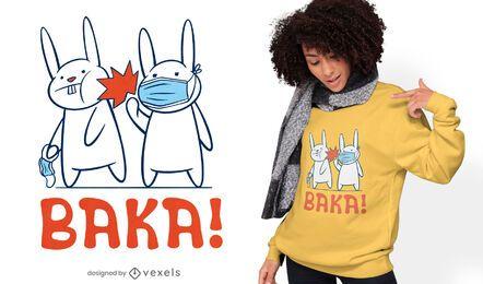 Diseño de camiseta de mascarilla de dibujos animados de conejitos