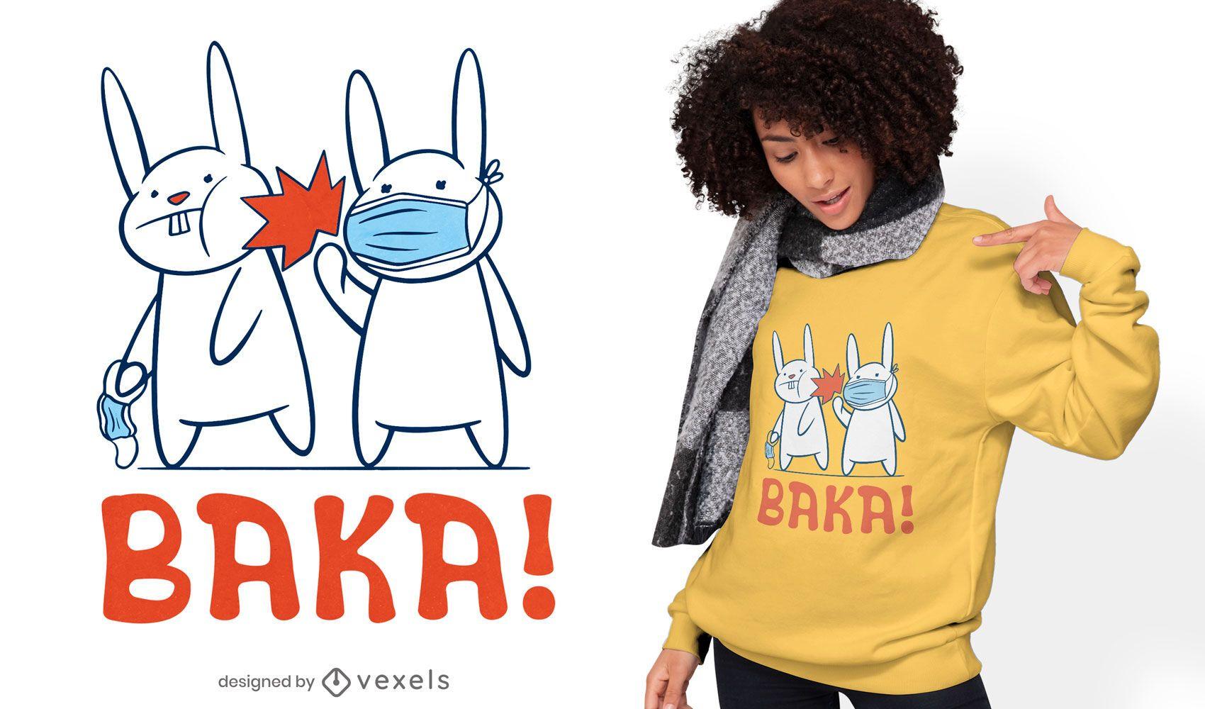 Dise?o de camiseta de mascarilla de dibujos animados de conejitos