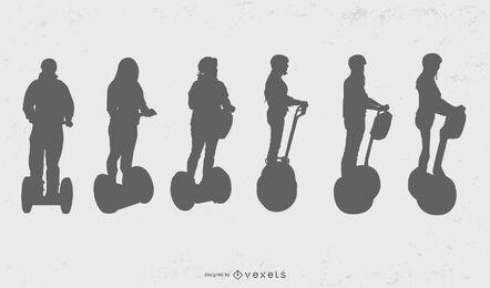 Segway fila de personas silueta conjunto