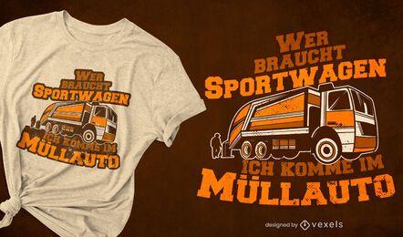 Diseño de camiseta de cita alemana de camión de basura