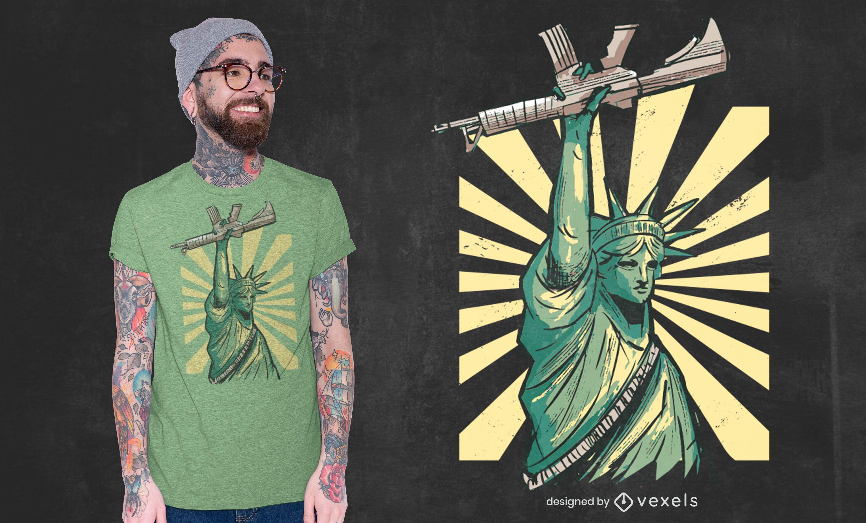 Design de camiseta com arma da estátua da liberdade