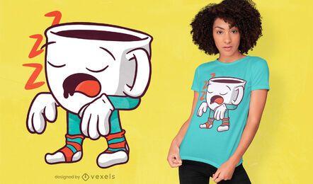 Diseño de camiseta de taza de café sonámbulo.