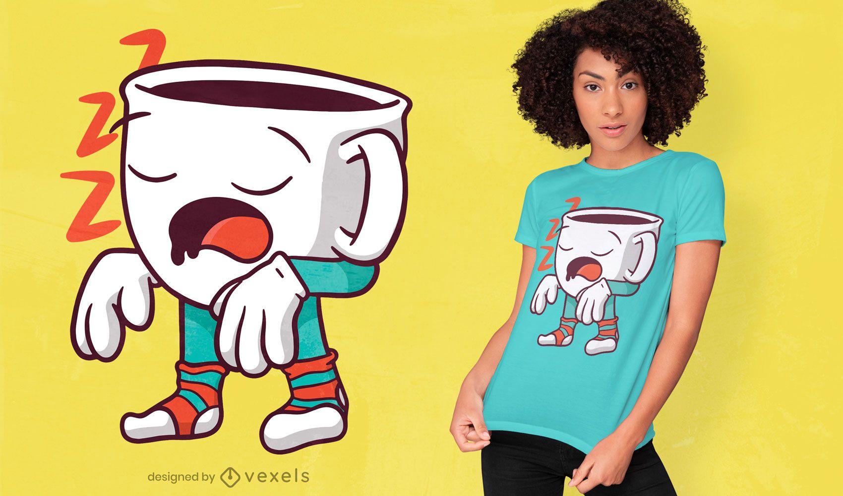 Design de t-shirt de xícara de café para sonambulismo