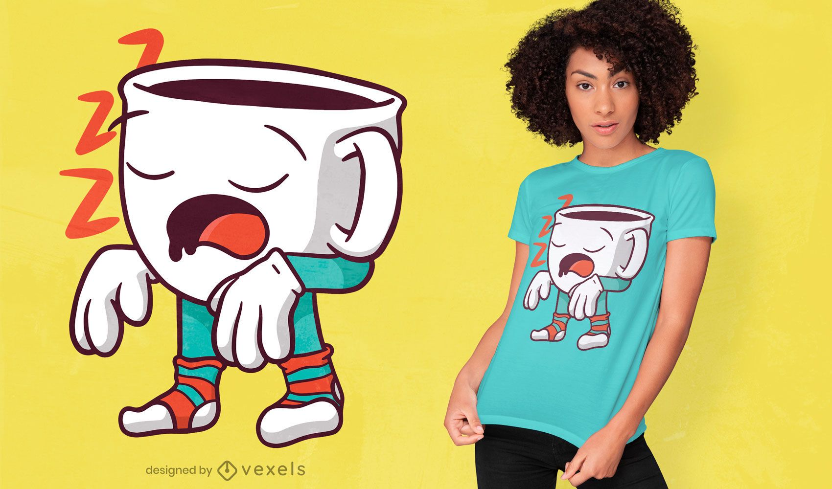 Sleepwalking coffee cup t-shirt design