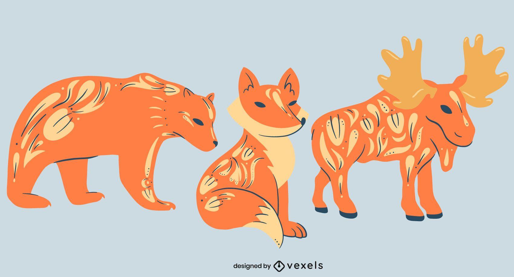 Conjunto decorado com animais selvagens