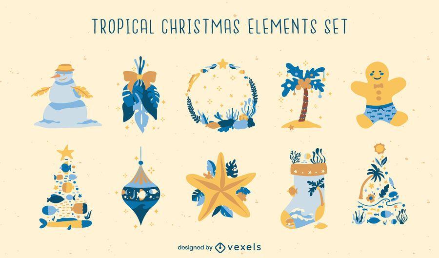 Christmas season tropical elements set