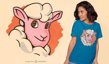 Diseño de camiseta linda cara de oveja