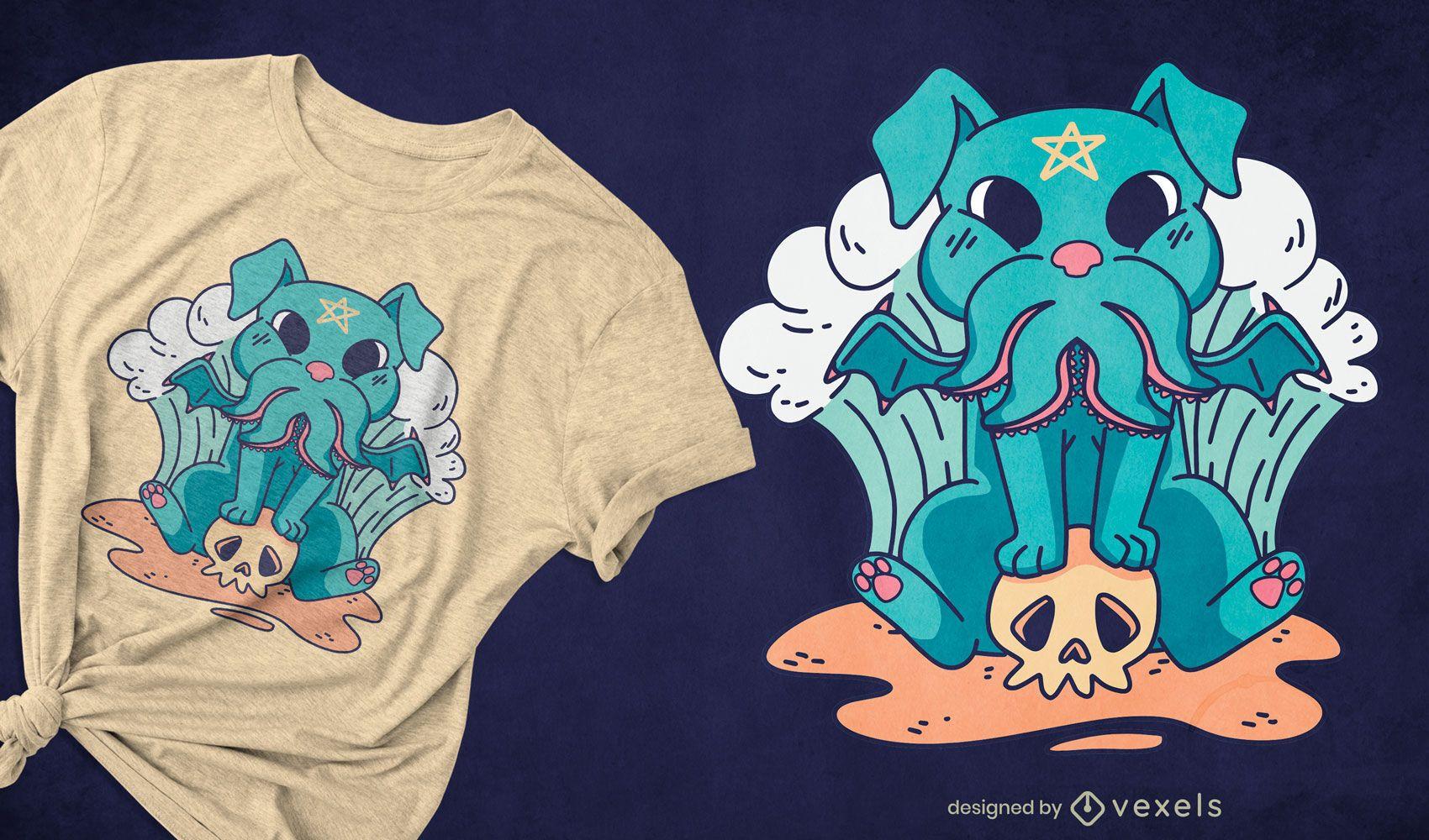 Design de t-shirt com um monstro satânico fofo