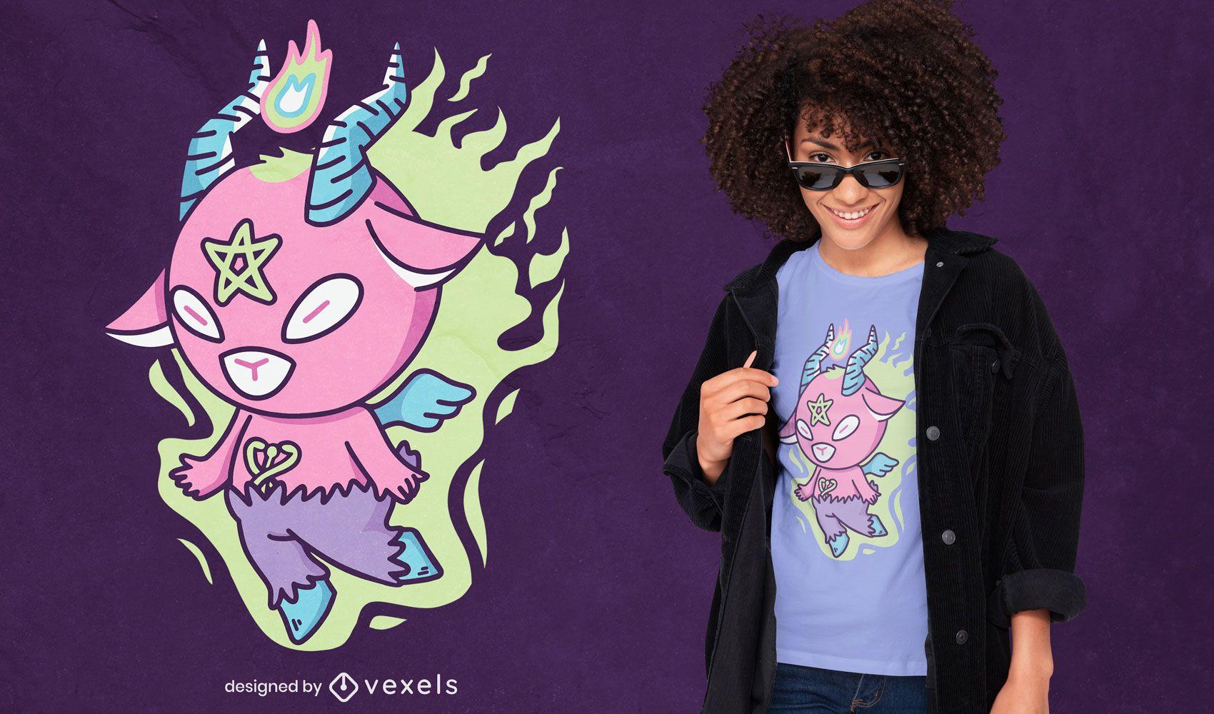 Design de camiseta de cabra monstro satânico fofo