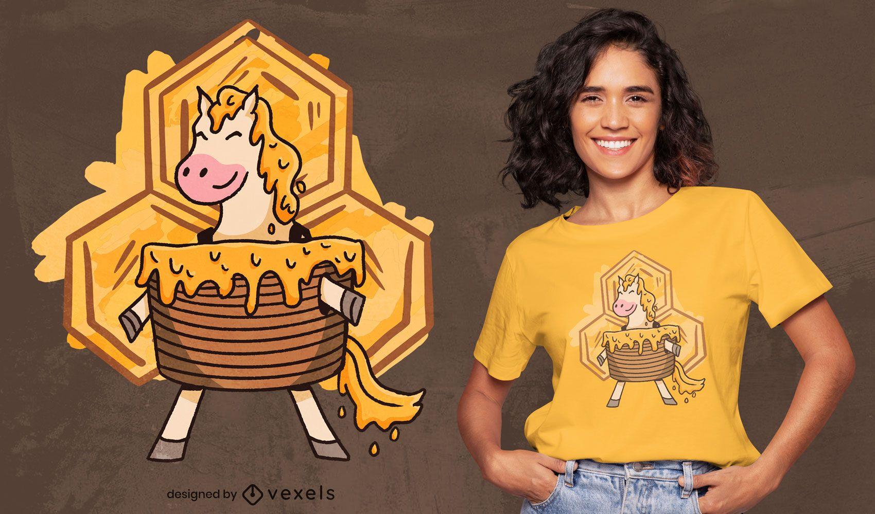 Diseño de camiseta de caballo de pastel de miel.