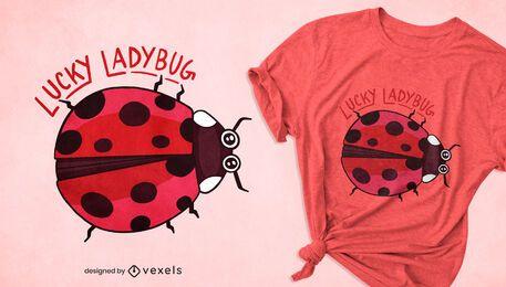 Diseño de camiseta de insecto de la suerte de mariquita.