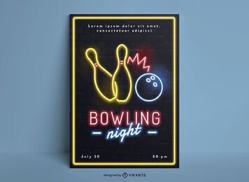 Bowling night hobby neon poster design