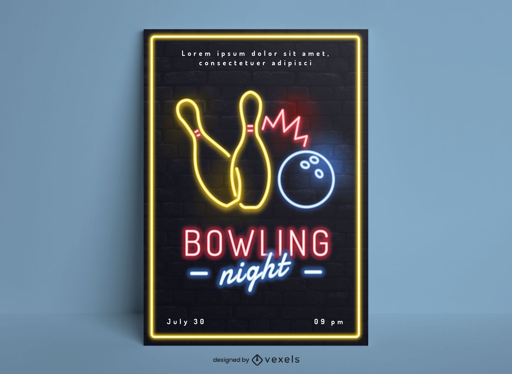 Design de pôster de néon para passatempo de noite de boliche