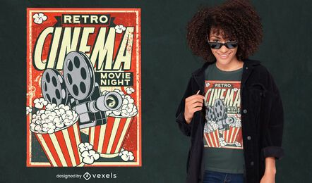 Diseño de camiseta de cartel de cine retro.