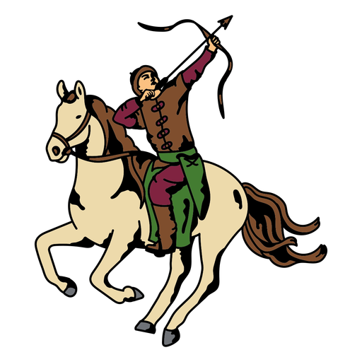Archer on a horse color stroke