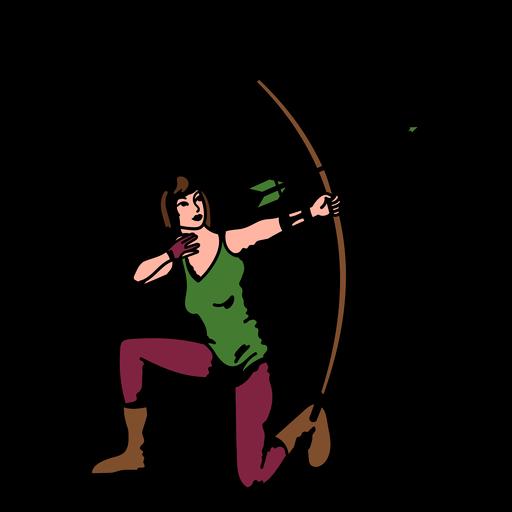 Female archer kneeling color stroke