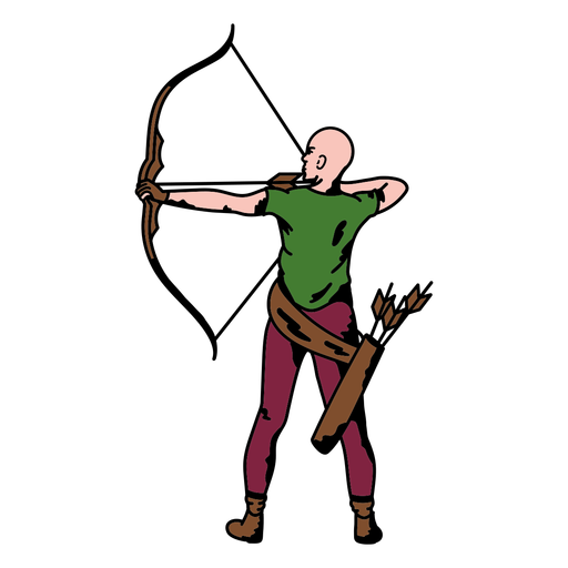 Male archer from behind color stroke