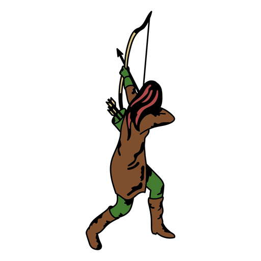 Female archer from behind color stroke