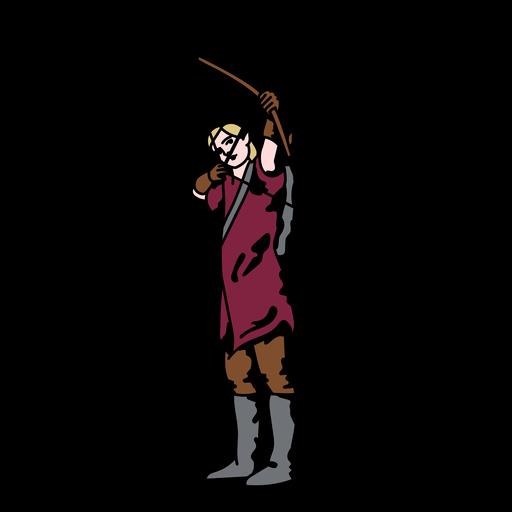 Elf archer up front color stroke