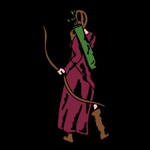 Female archer in purple cape color stroke