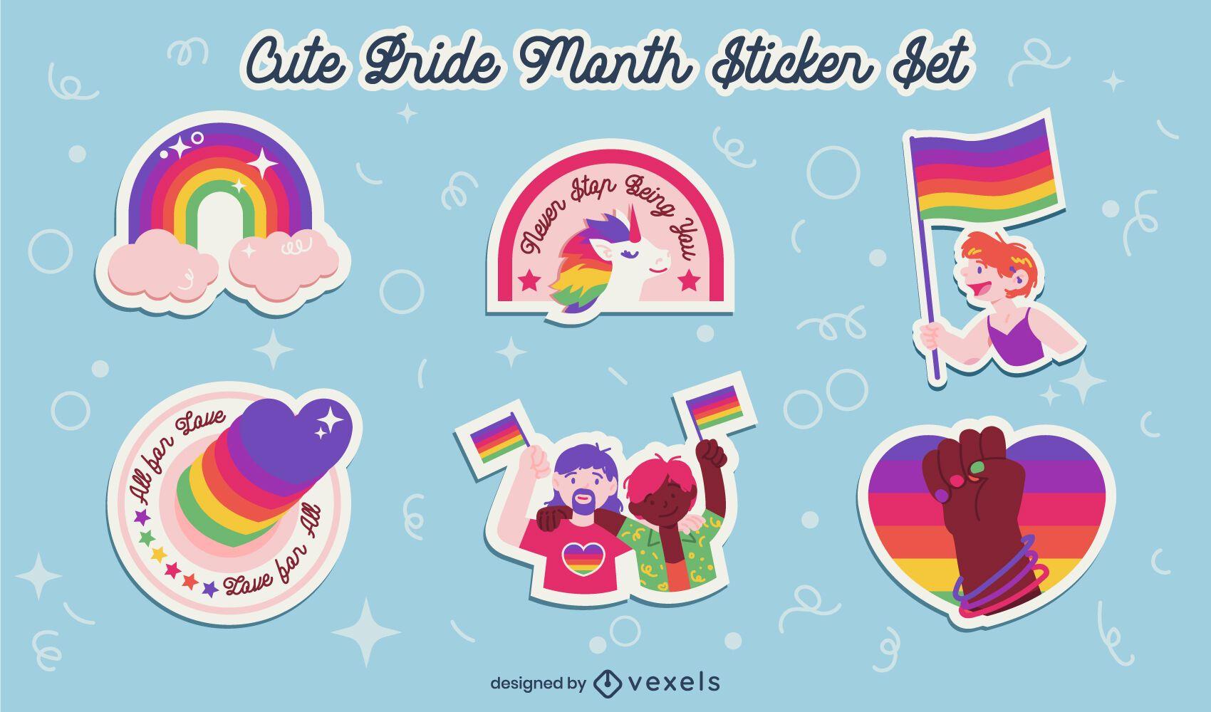 Lindo conjunto de pegatinas de arco iris del mes del orgullo