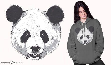 Design realista de camiseta com cabeça de panda