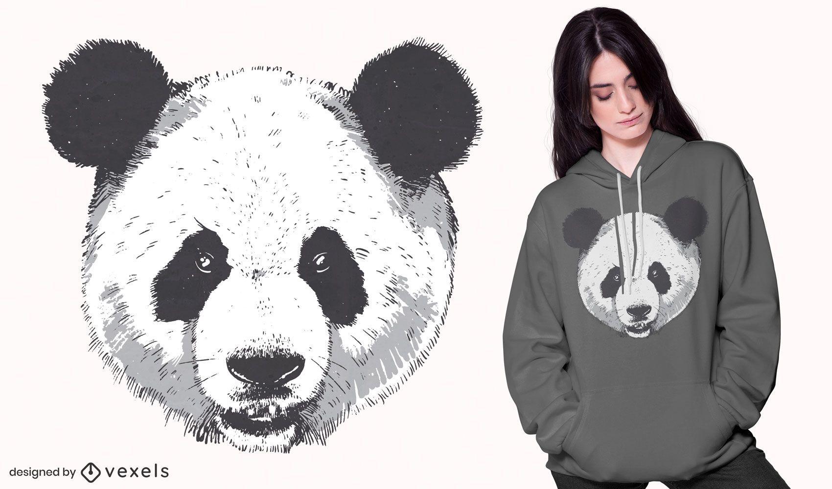 Diseño de camiseta de cabeza de panda realista