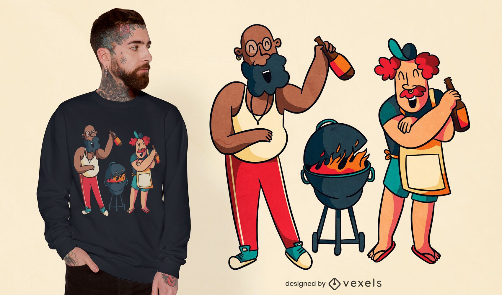 Happy guys cooking grill t-shirt design