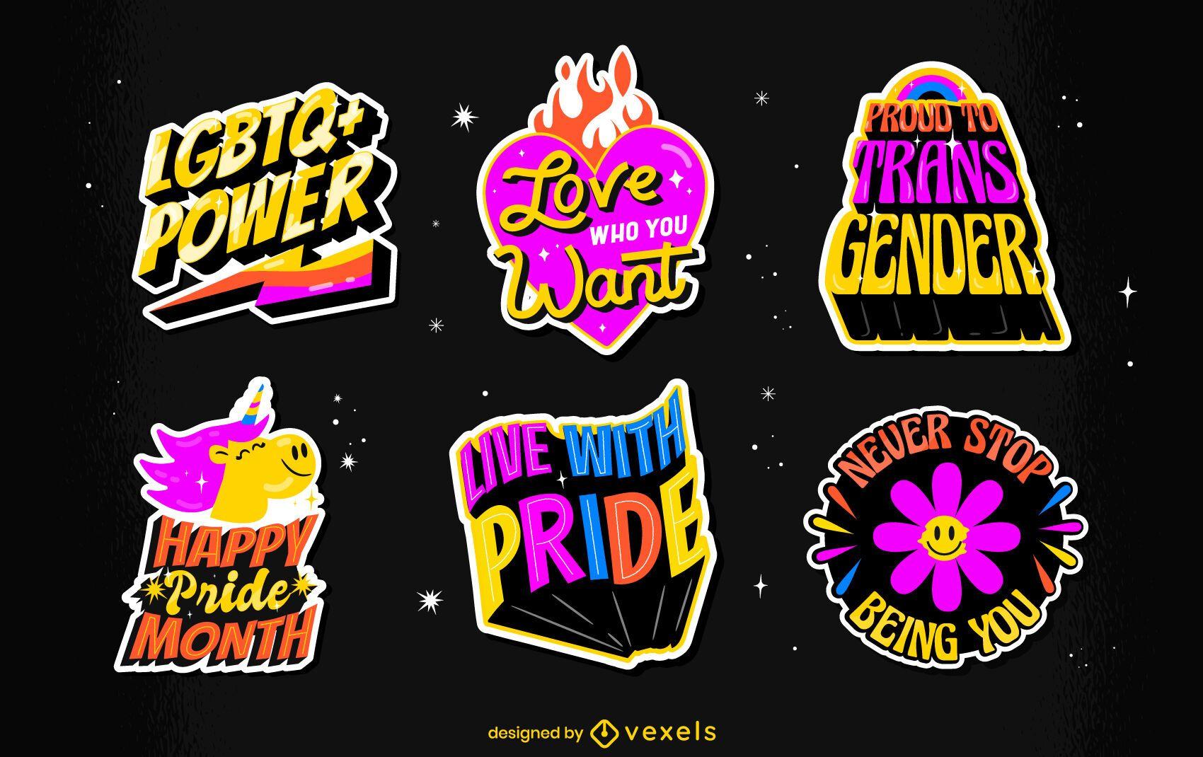 Conjunto de insignias retro lgbt del mes del orgullo