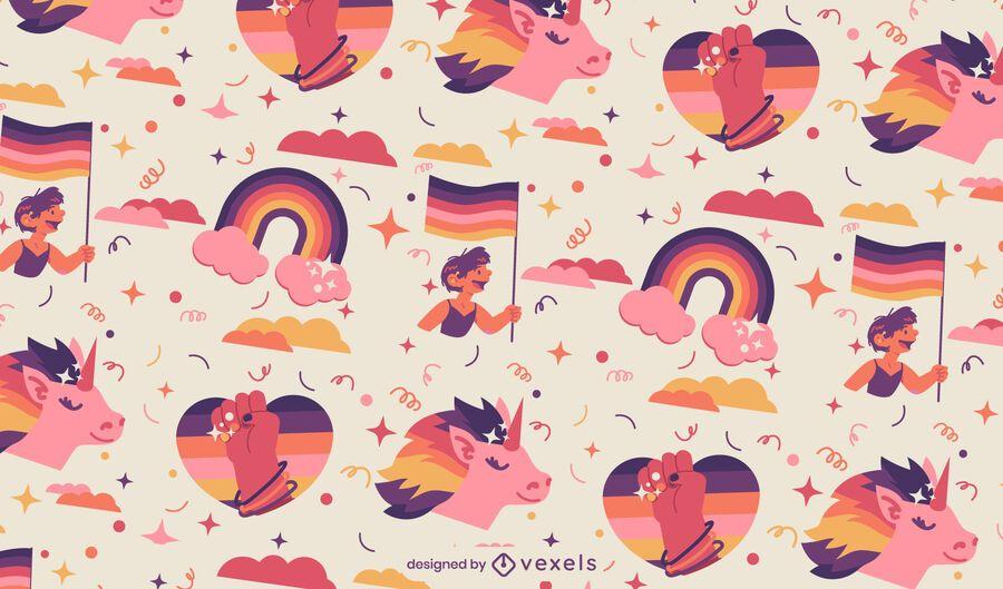 Pride month rainbow pattern design