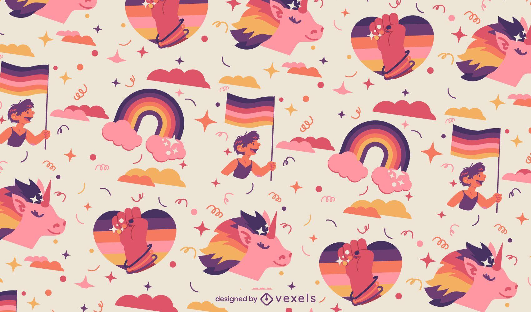 Diseño de patrón de arco iris del mes del orgullo
