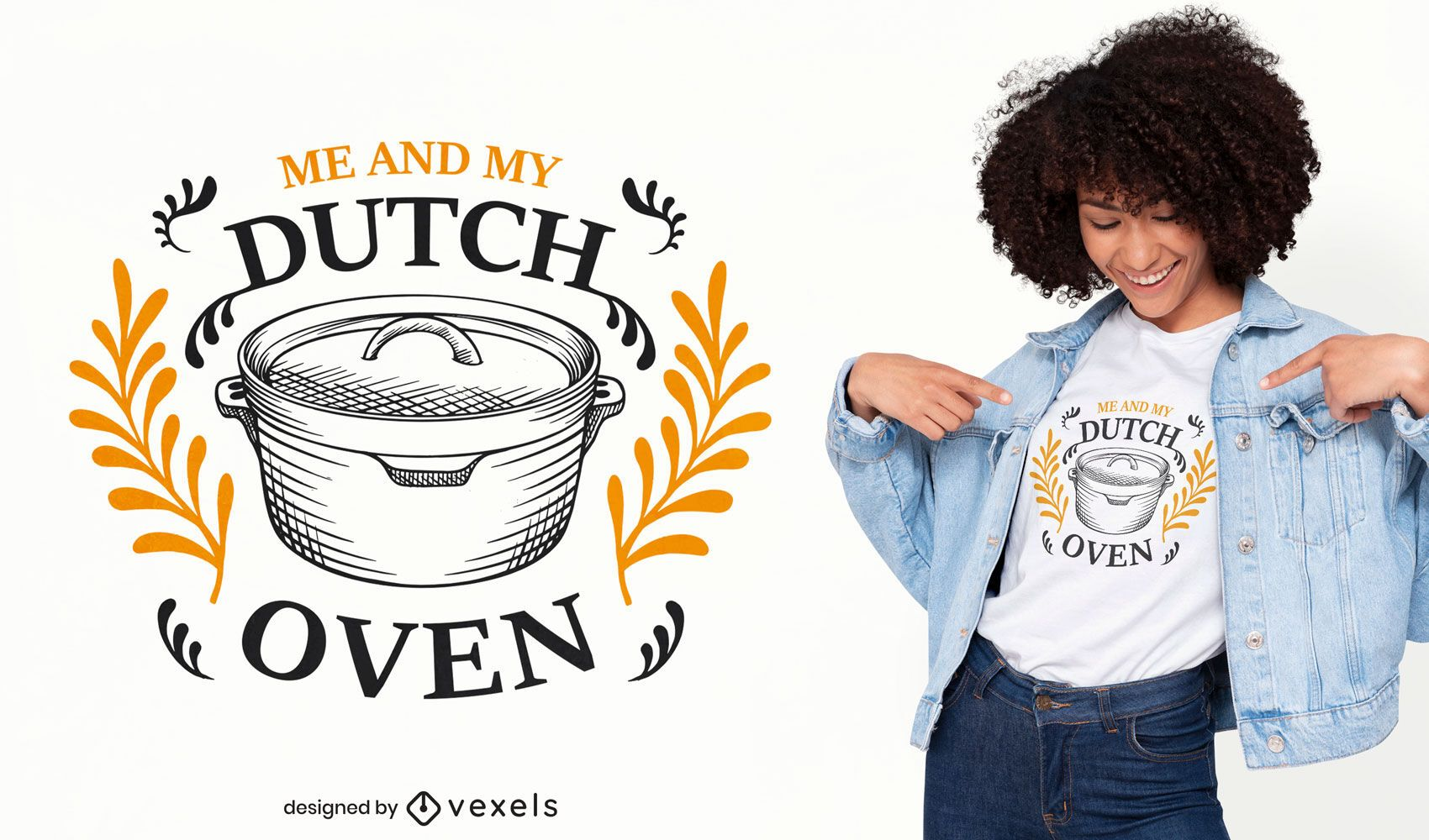 Diseño de camiseta dibujada a mano de horno de cocina