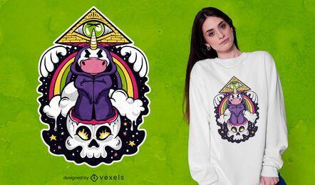 Unicorn illuminati cartoon t-shirt design